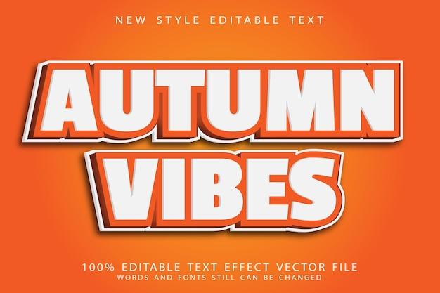 Efeito de texto editável de vibrações de outono em relevo estilo desenho animado