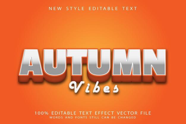 Efeito de texto editável de vibrações de outono em relevo estilo moderno