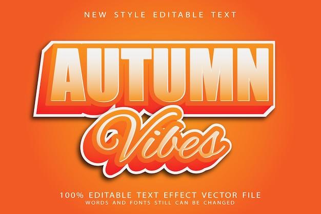 Efeito de texto editável de vibrações de outono em relevo moderno estilo retro