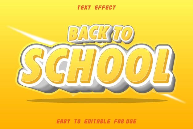 Efeito de texto editável de volta à escola laranja e branco Vetor Premium