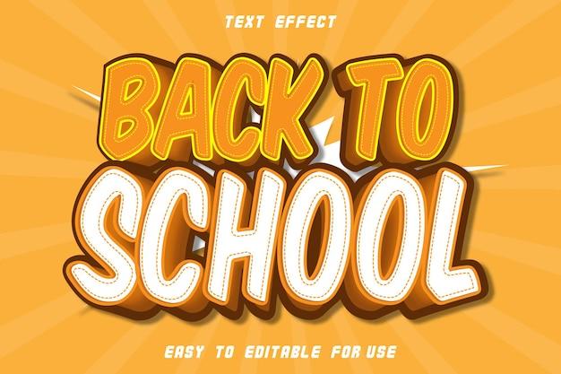 Efeito de texto editável de volta à escola