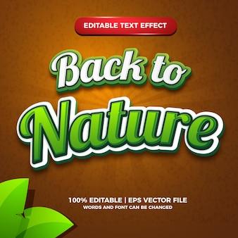 Efeito de texto editável de volta à natureza para o modelo de design de logotipo