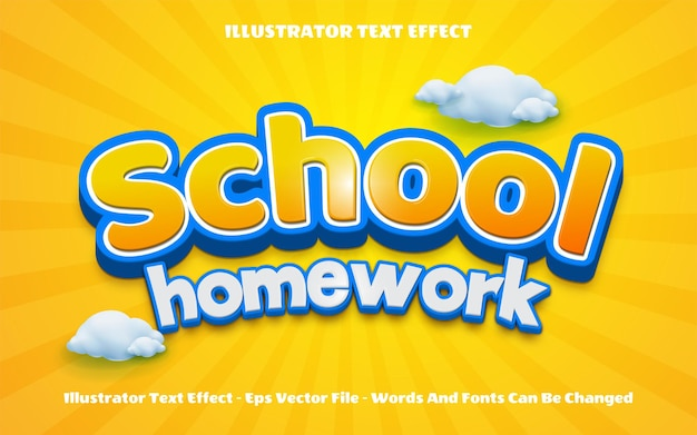 Efeito de texto editável de volta ao dever de casa da escola