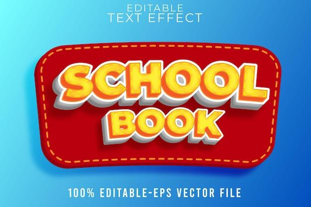 Efeito de texto editável de volta ao livro escolar estilo escolar