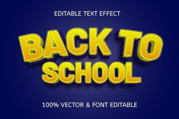 Efeito de texto editável de volta às aulas amarelo azul
