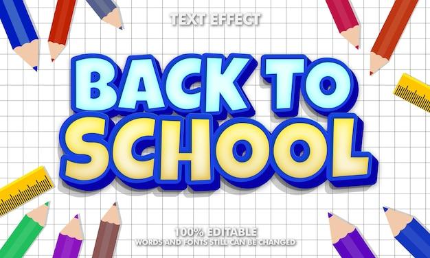 Efeito de texto editável de volta às aulas conceito de fundo de volta à escola