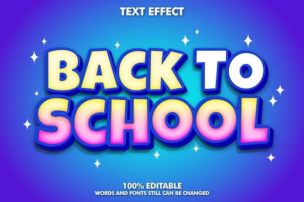 Efeito de texto editável de volta às aulas design de volta às aulas