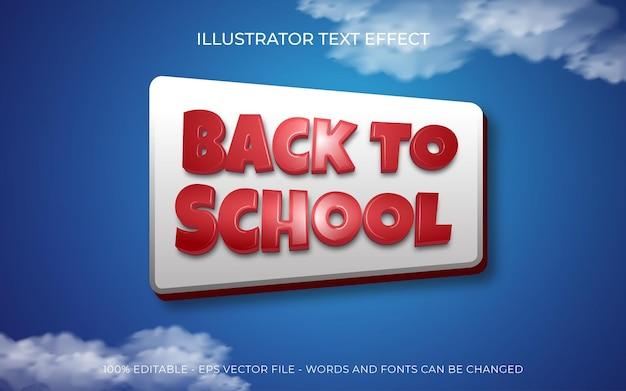 Efeito de texto editável de volta às aulas em fundo azul
