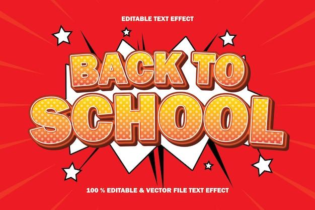 Efeito de texto editável de volta às aulas em relevo estilo quadrinhos de desenho animado