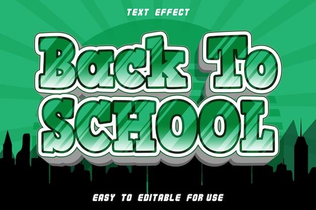 Efeito de texto editável de volta às aulas em relevo estilo quadrinhos Vetor Premium