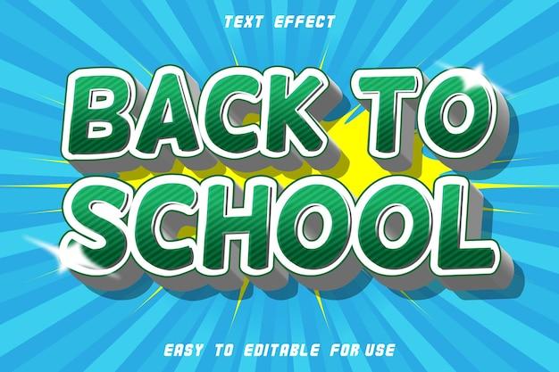 Efeito de texto editável de volta às aulas em relevo estilo quadrinhos