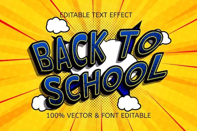 Efeito de texto editável de volta às aulas na cor amarelo azul