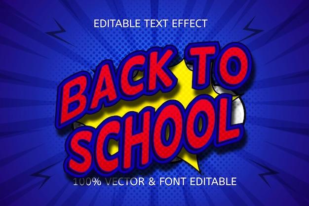 Efeito de texto editável de volta às aulas na cor azul vermelho