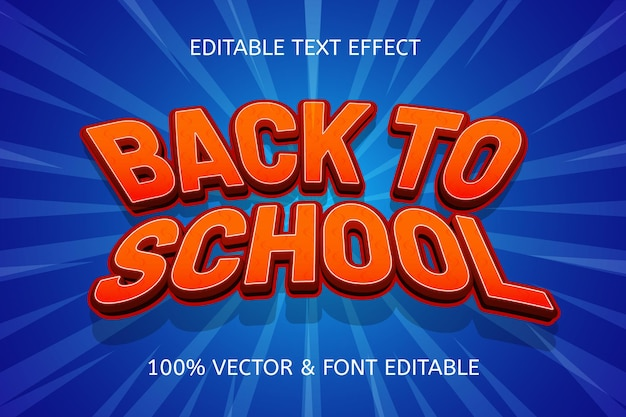Efeito de texto editável de volta às aulas na cor vermelho azul