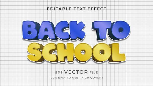 Efeito de texto editável de volta às aulas