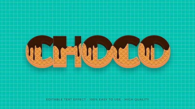 Efeito de texto editável de waffle de chocolate