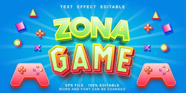 Efeito de texto editável de zona jogo 3d