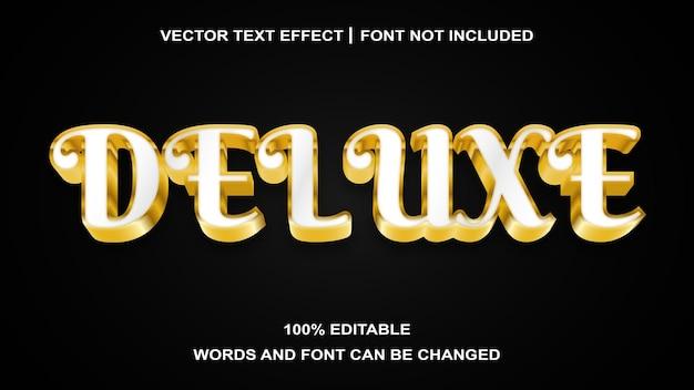 Efeito de texto editável deluxe gold white estilo