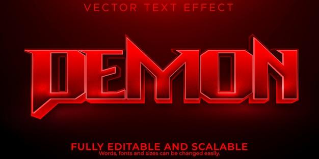Efeito de texto editável demon, estilo de texto morto e assustador