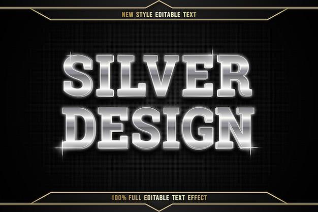 Efeito de texto editável design prateado cor prata