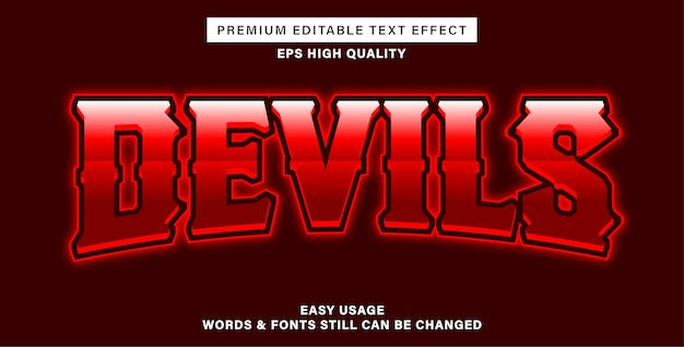 Efeito de texto editável devils esport