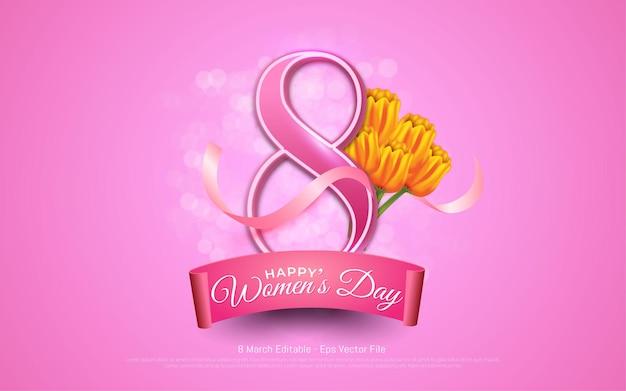 Efeito de texto editável, dia da mulher 8 de março com flores