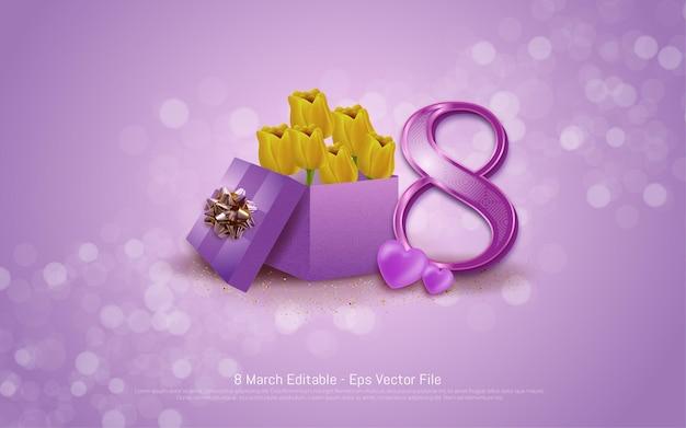 Efeito de texto editável, dia da mulher linda feliz 8 de março com estilo de caixa de presente