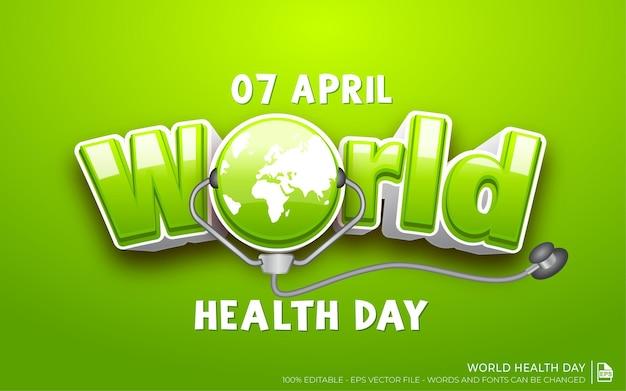 Efeito de texto editável, dia mundial da saúde