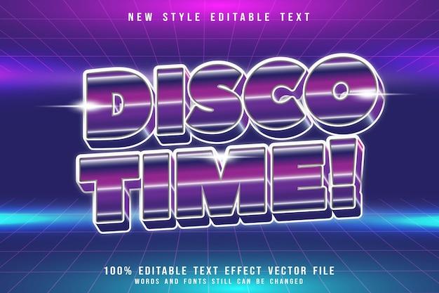 Efeito de texto editável disco time em relevo estilo anos 80