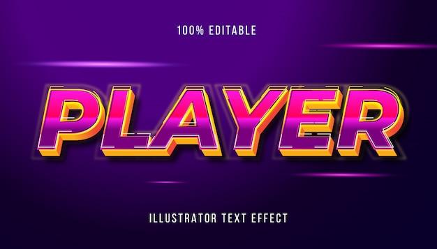 Efeito de texto editável do 3d player