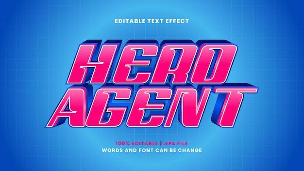 Efeito de texto editável do agente hero em estilo 3d moderno