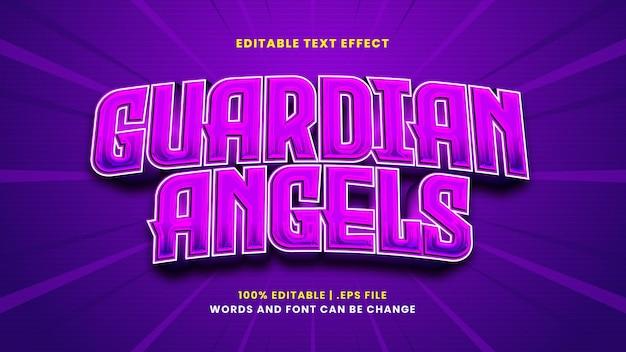Efeito de texto editável do anjo da guarda em estilo 3d moderno