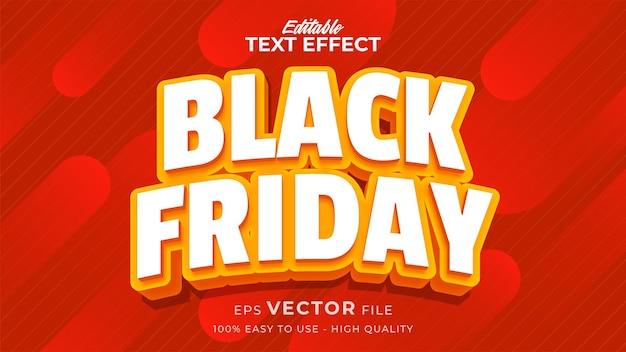 Efeito de texto editável do banner black friday com estilo cômico