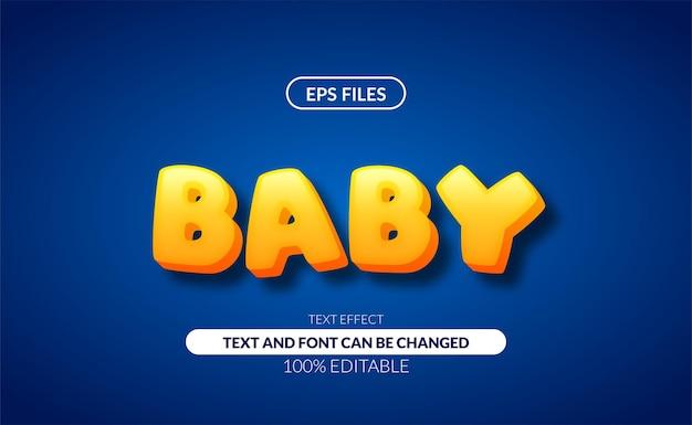 Efeito de texto editável do bebê em negrito 3d.