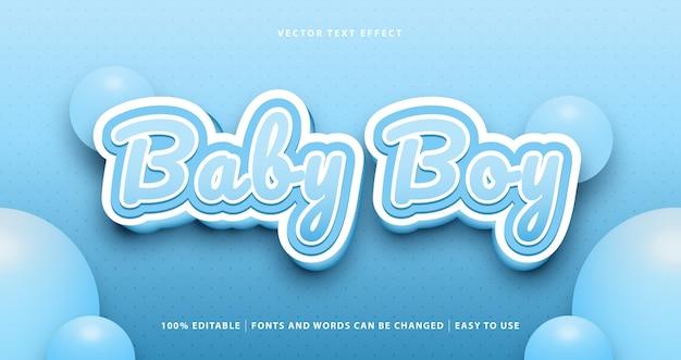 Efeito de texto editável do bebê menino azul.