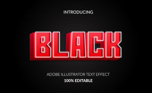 Efeito de texto editável do bloco vermelho 3d com lâmpada de néon luminosa de luz branca brilhando.
