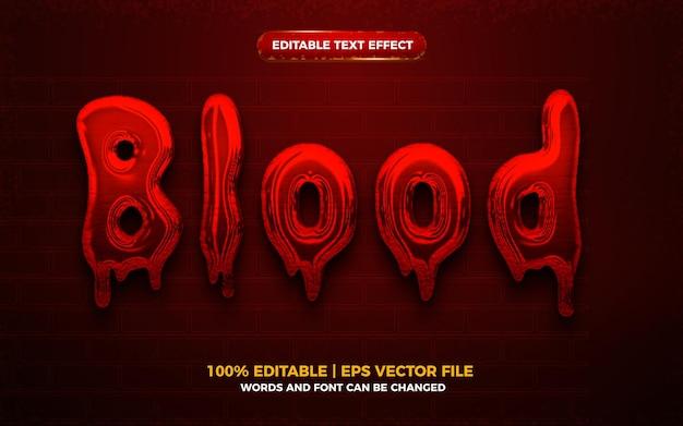 Efeito de texto editável do blood 3d