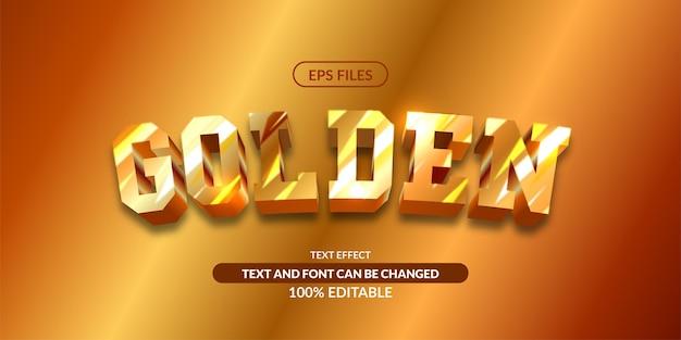 Efeito de texto editável do brilho do metal dourado 3d.