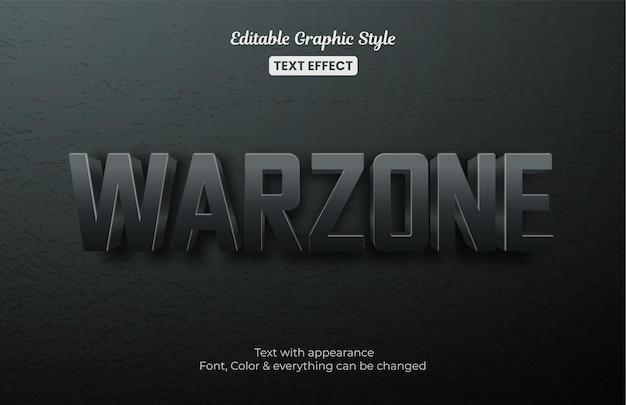Efeito de texto editável do campo de batalha da zona de guerra