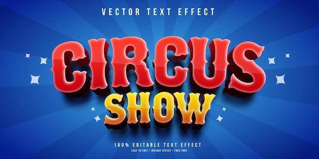 Efeito de texto editável do circo show