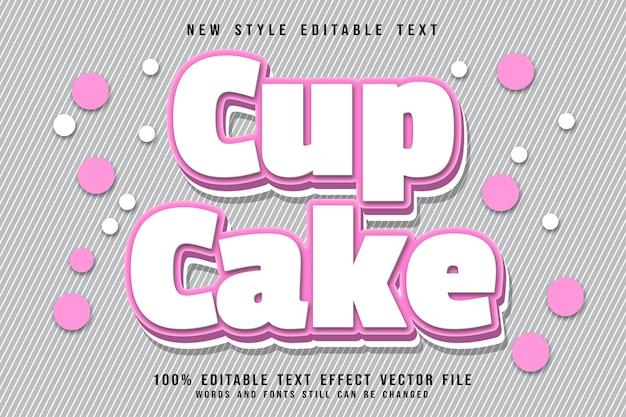 Efeito de texto editável do cup cake com relevo moderno