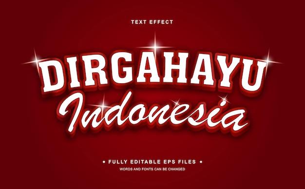 Efeito de texto editável do dia da independência na indonésia