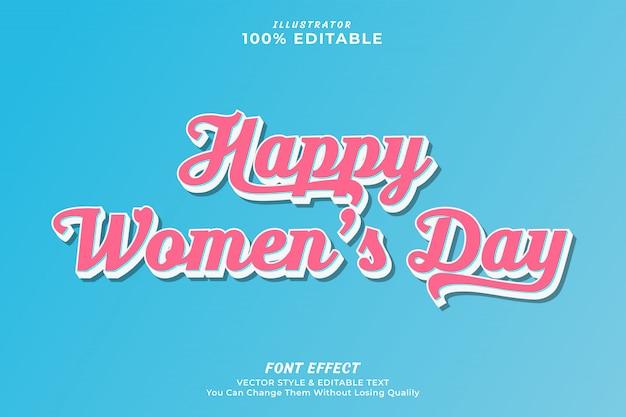 Efeito de texto editável do dia da mulher
