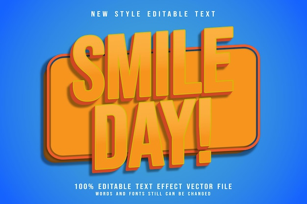 Efeito de texto editável do dia de sorriso em relevo estilo cômico