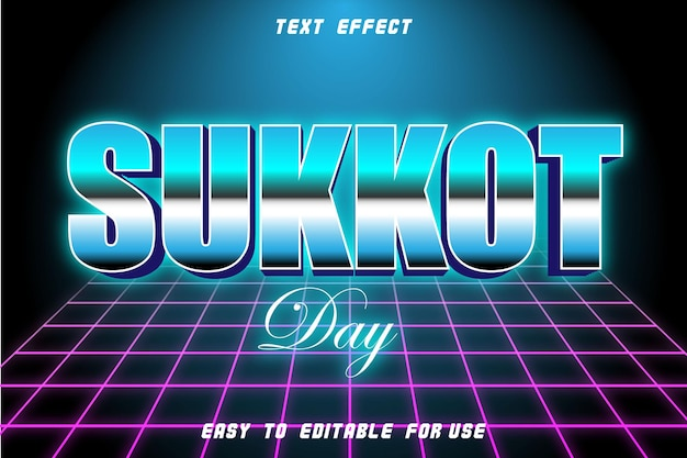 Efeito de texto editável do dia de sucot em relevo estilo retro