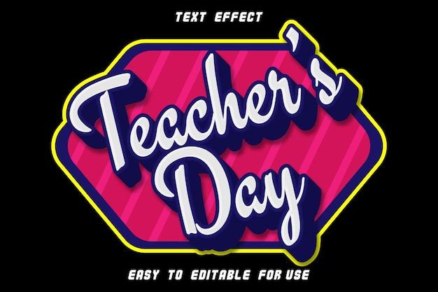 Efeito de texto editável do dia do professor em relevo em estilo moderno