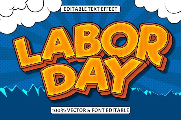 Efeito de texto editável do dia do trabalho 3 dimensões em relevo estilo cômico