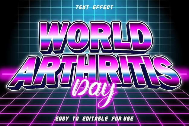 Efeito de texto editável do dia mundial da artrite em relevo estilo retro
