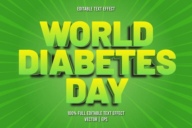 Efeito de texto editável do dia mundial da diabetes