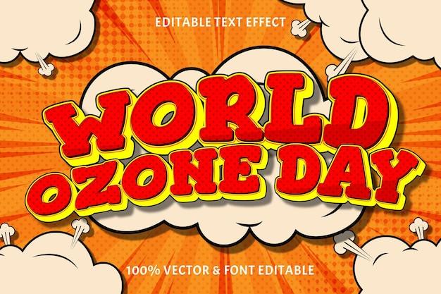 Efeito de texto editável do dia mundial do ozônio 3 dimensões em relevo estilo cômico